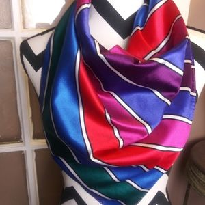 Vintage Scarf Red Purple Blue Stripe